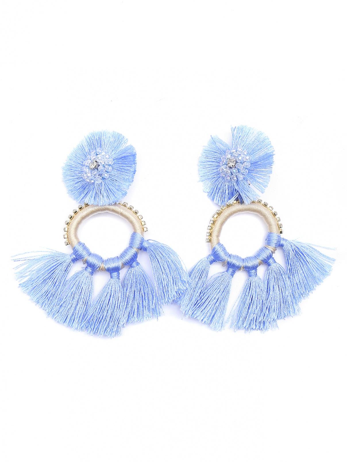 Серьги с кисточками, декорированные стеклярусом Marina Rinaldi  –  Общий вид  – Цвет:  Синий