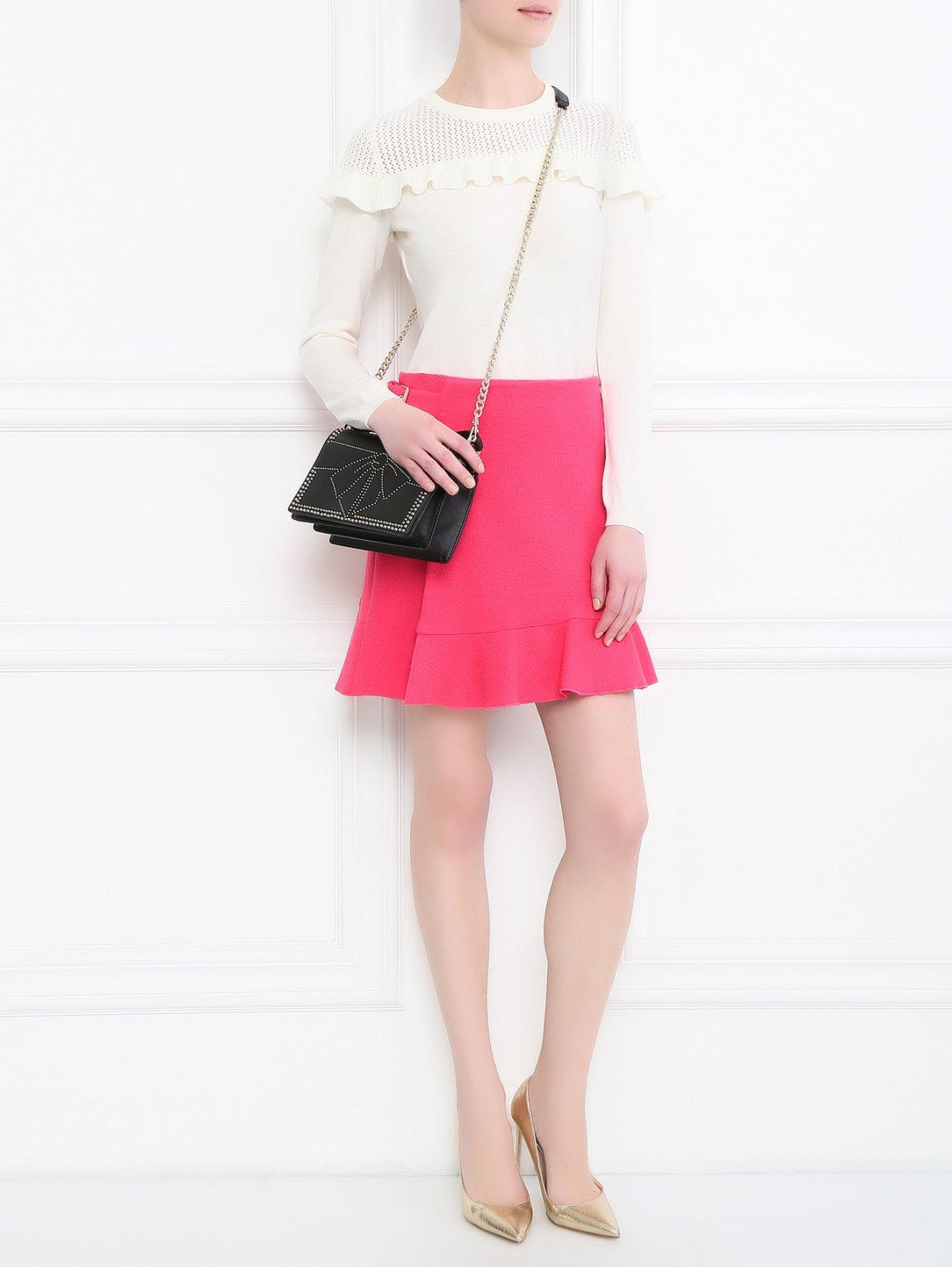 Юбка-мини из шерсти Moschino Boutique  –  Модель Общий вид  – Цвет:  Розовый