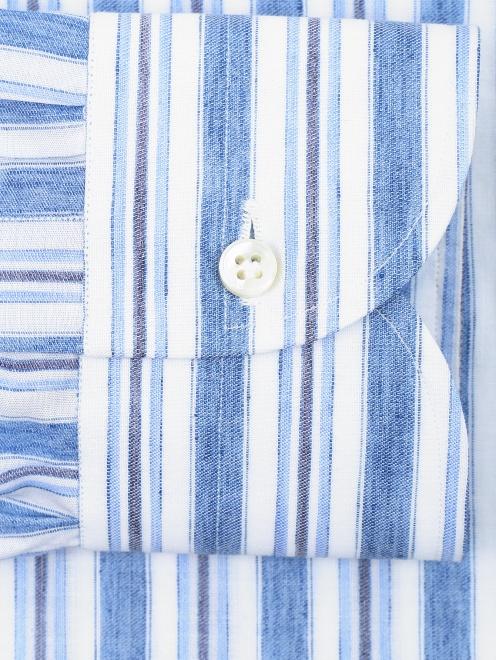 Рубашка из хлопка и льна с узором полоска - Деталь1