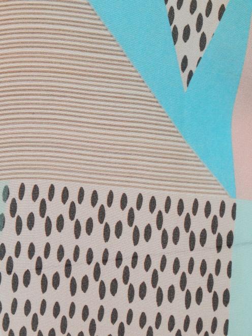 Блуза из хлопка и шелка с узором и контрастной отделкой - Деталь1