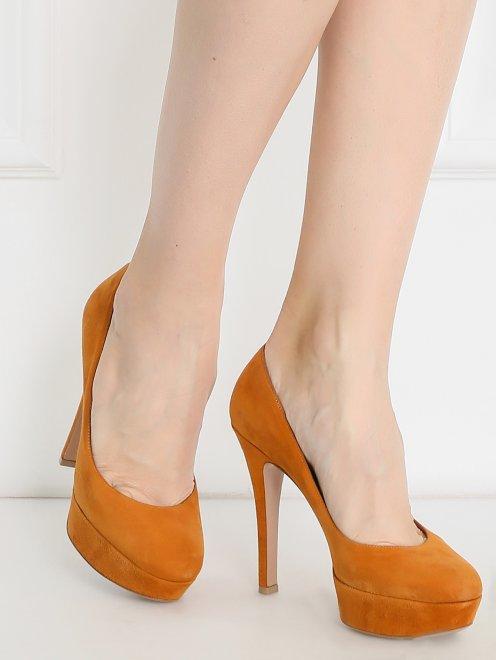 Туфли из замши на высоком каблуке - Модель Верх-Низ