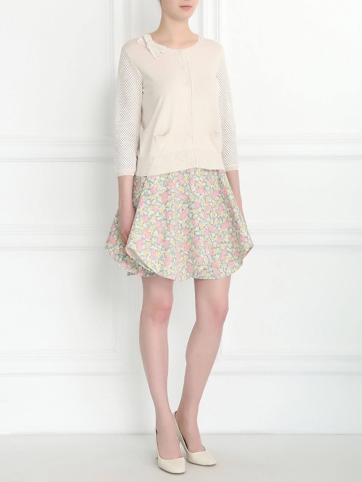 Кардиган из шелка и хлопка с плетеными рукавами Paule Ka  –  Модель Общий вид