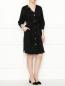 Платье из смешанного хлопка с декоративными пуговицами Marina Rinaldi  –  МодельОбщийВид