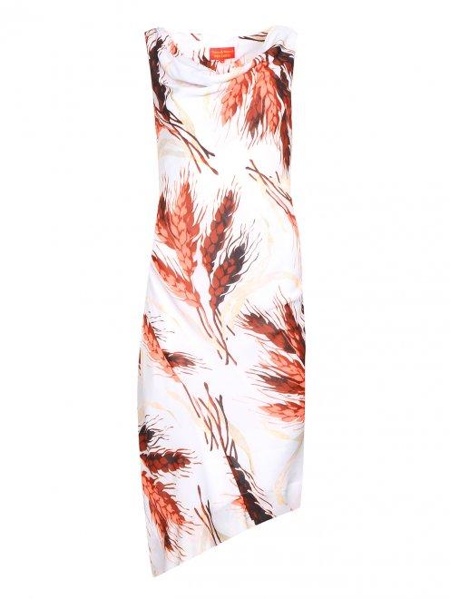 Платье-миди без рукавов с узором - Общий вид