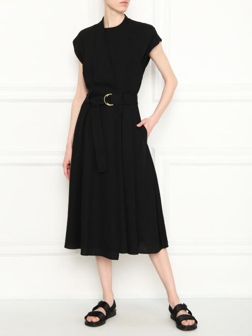 Платье-миди с поясом  - Общий вид