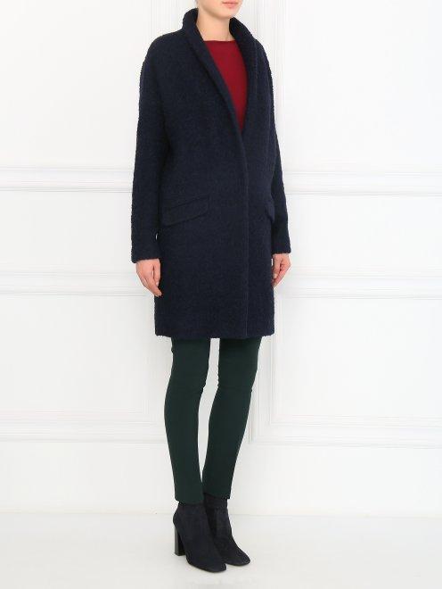 Пальто свободного кроя с накладными карманами - Общий вид