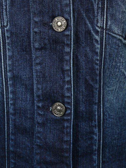 Джинсовая куртка декорированная стеклярусом - Деталь