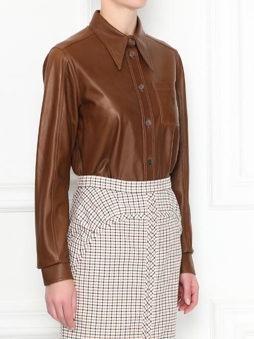 Рубашка из гладкой кожи на пуговицах - МодельВерхНиз