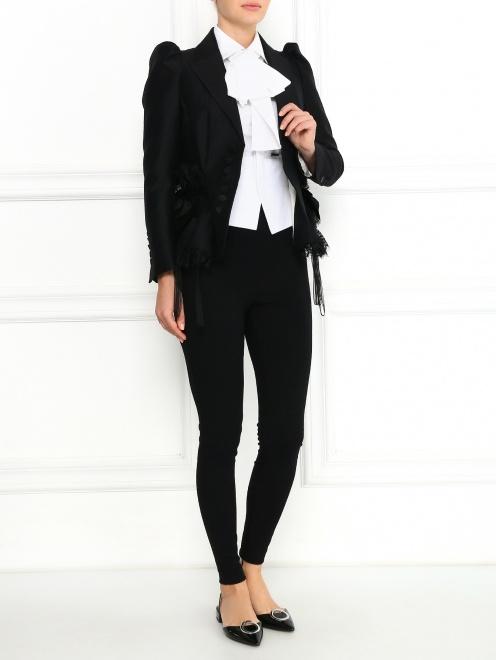 Жакет из шерсти и шелка с объемными рукавами и кружевом - Модель Общий вид