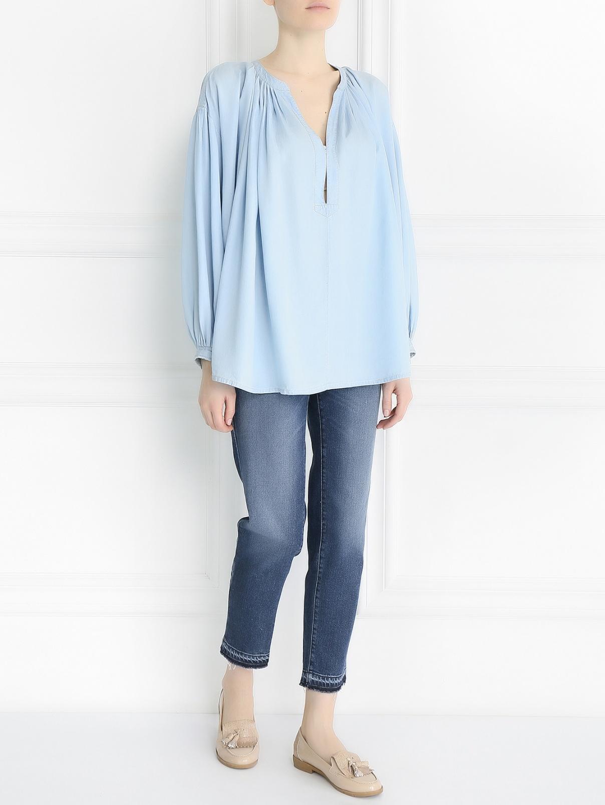 Блуза с драпировкой свободного кроя Sonia Rykiel  –  Модель Общий вид  – Цвет:  Синий