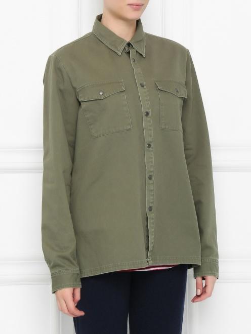 Рубашка из хлопка с принтом на спине - Модель Верх-Низ