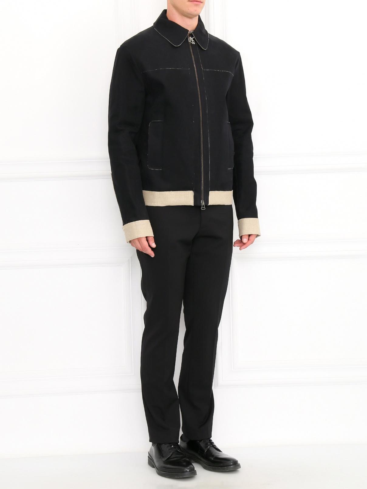 Куртка из шерсти и льна Antonio Marras  –  Модель Общий вид  – Цвет:  Черный