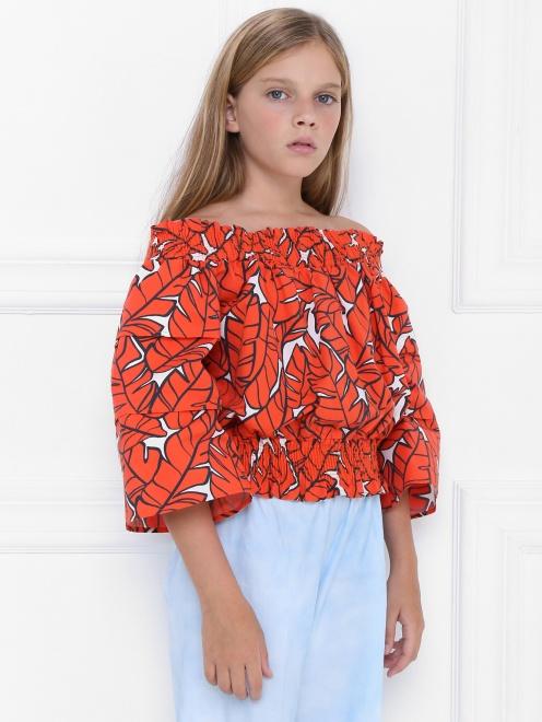 Блуза хлопковая в крестьянском стиле - МодельВерхНиз