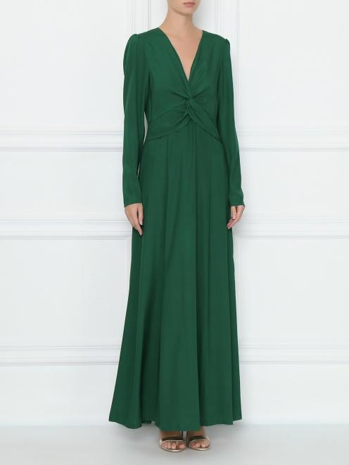 Платье шелковое с драпировкой на груди - МодельВерхНиз