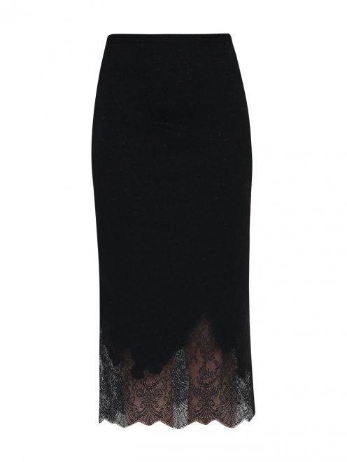 Юбка карандаш из шерсти шелка и кашемира с апликацией из кружева - Общий вид
