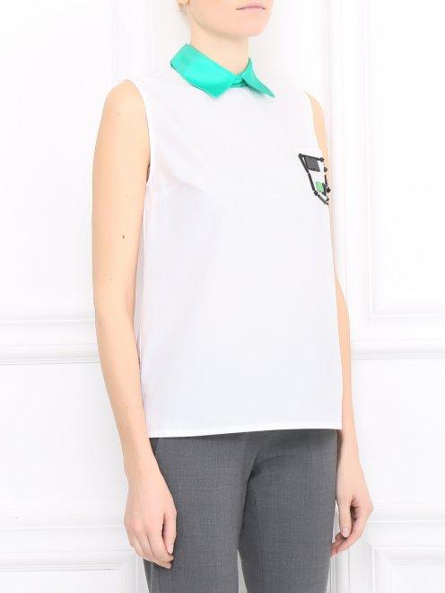 Рубашка из хлопка с декором  - Модель Верх-Низ