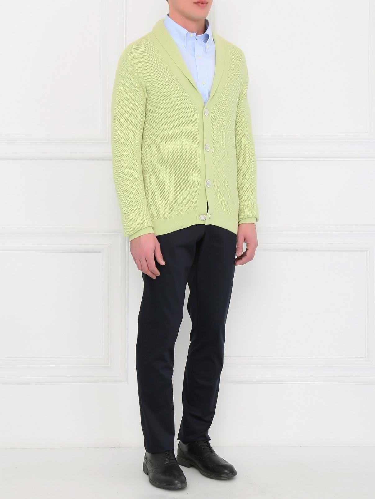 Кардиган из хлопка крупной вязки Ballantyne  –  Модель Общий вид  – Цвет:  Зеленый