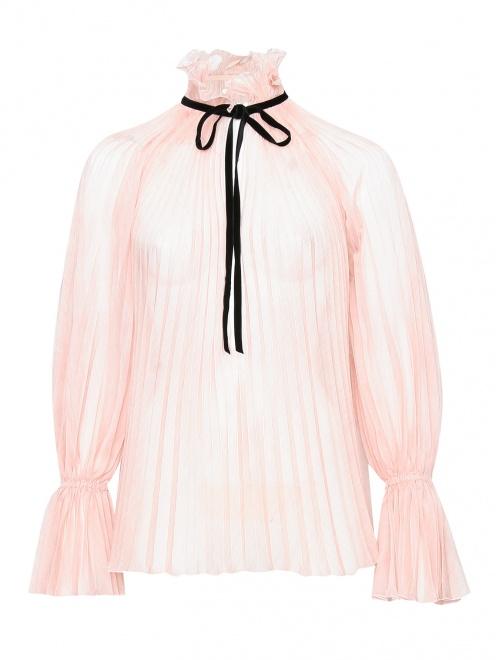 Блуза свободного кроя с контрастной отделкой  - Общий вид