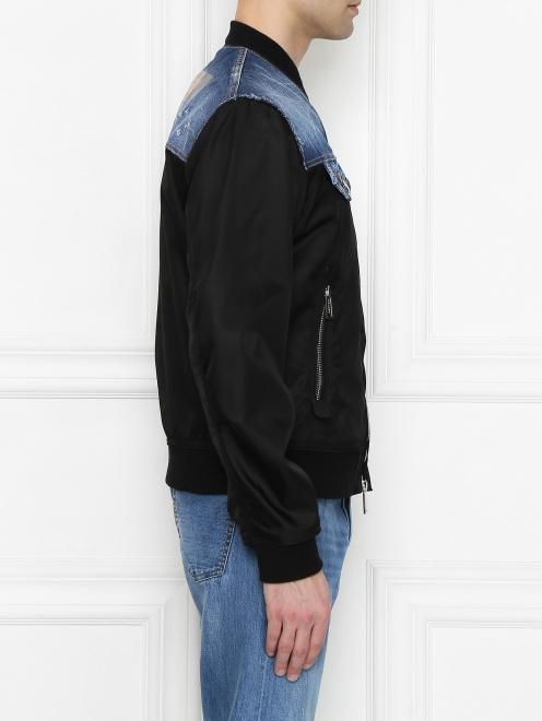 Куртка со вставкой из денима - МодельВерхНиз2