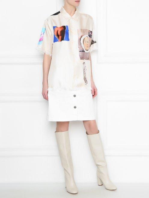 Рубашка из шелка с узором и короткими рукавами - Общий вид