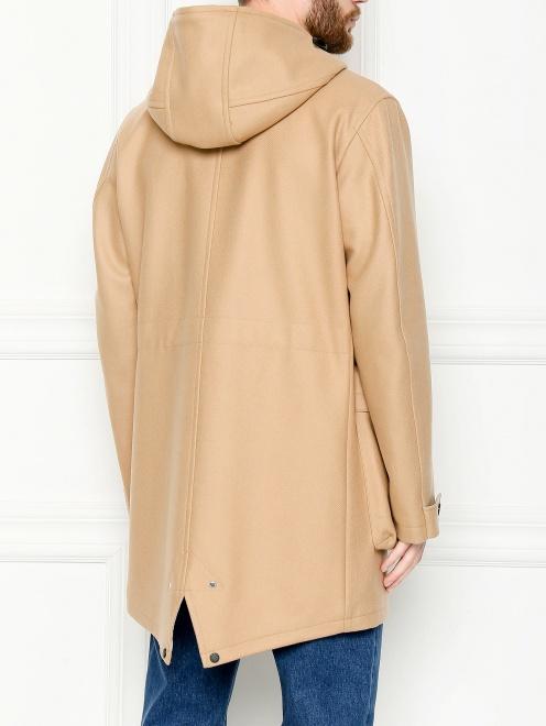 Пальто из смешанной шерсти с капюшоном и карманами  - МодельВерхНиз1