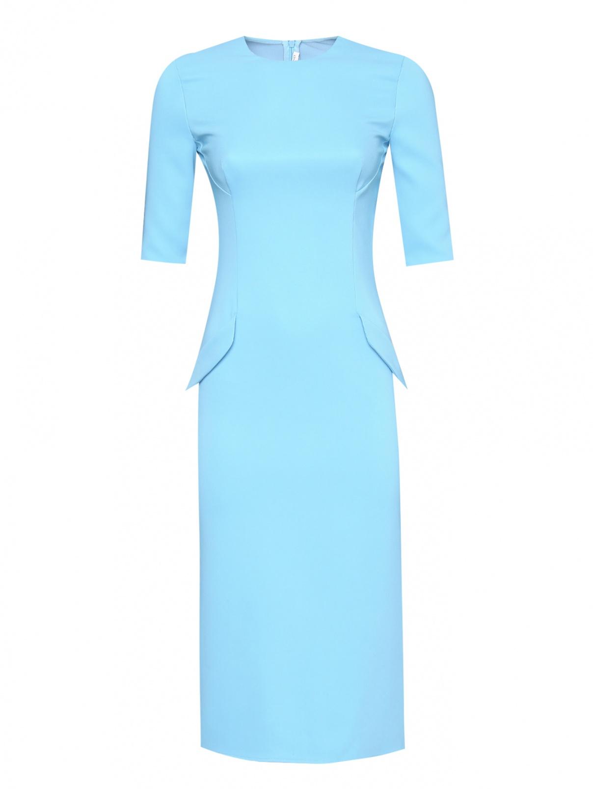 Платье-футляр с короткими рукавами Ermanno Scervino  –  Общий вид  – Цвет:  Синий