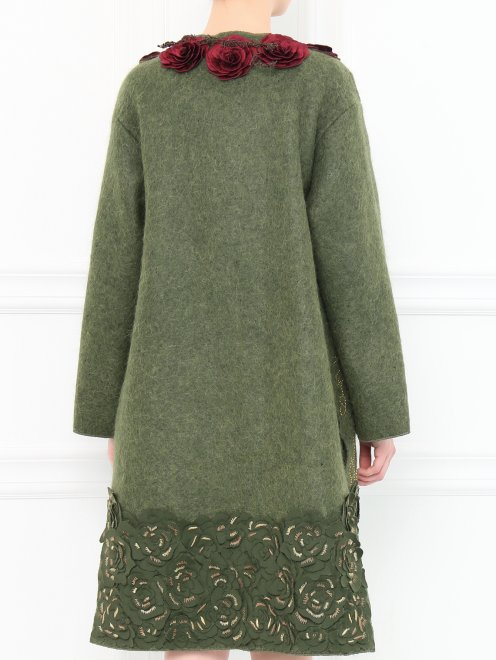 Пальто из шерсти с боковыми карманами декорированное вышивкой  - Модель Верх-Низ1