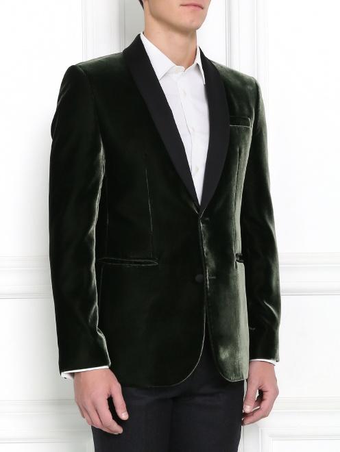Однобортный вельветовый пиджак - Модель Верх-Низ
