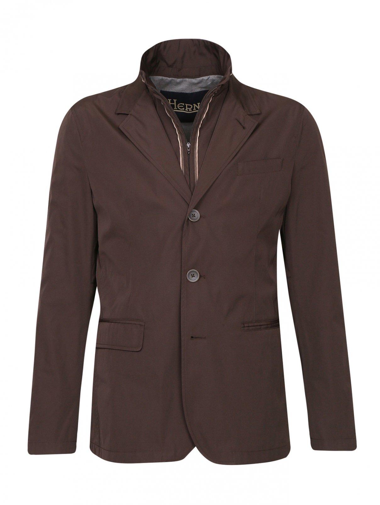 Пиджак с подкладом на молнии Herno  –  Общий вид  – Цвет:  Коричневый