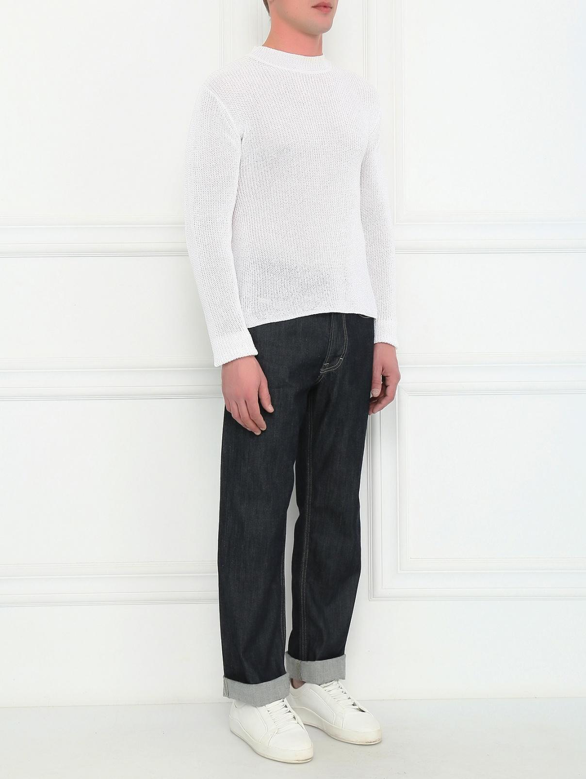 Джемпер из хлопка свободного кроя Brooks Brothers  –  Модель Общий вид  – Цвет:  Белый