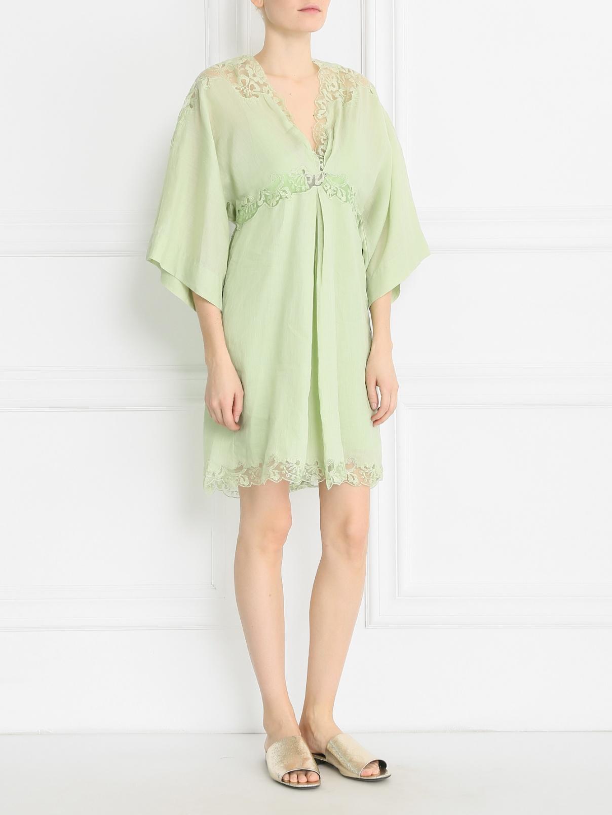 Платье из рами свободного кроя Ermanno Scervino  –  Модель Общий вид  – Цвет:  Зеленый