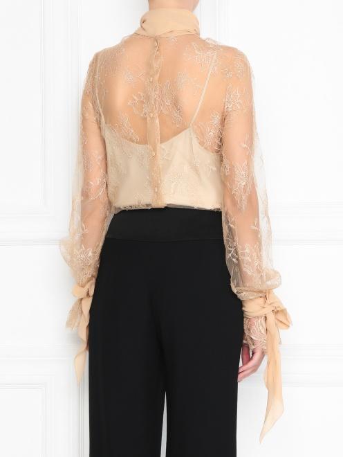 Блуза из шелка с кружевным узором - МодельВерхНиз1