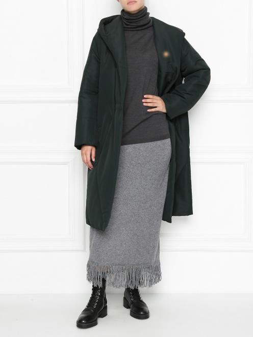 Пальто пуховое с капюшоном - Общий вид