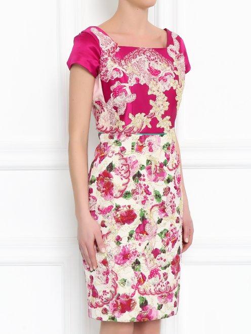 Платье из шелка с узором и декоративной отделкой - МодельВерхНиз