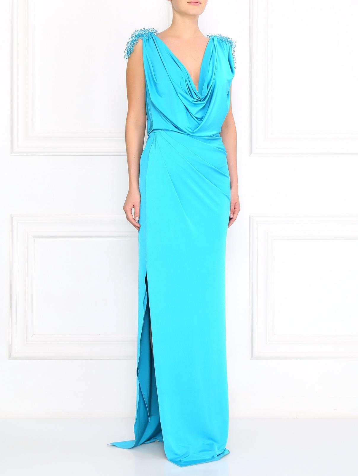 Платье-макси декорированное камнями VELOUDAKIS  –  Модель Общий вид  – Цвет:  Синий