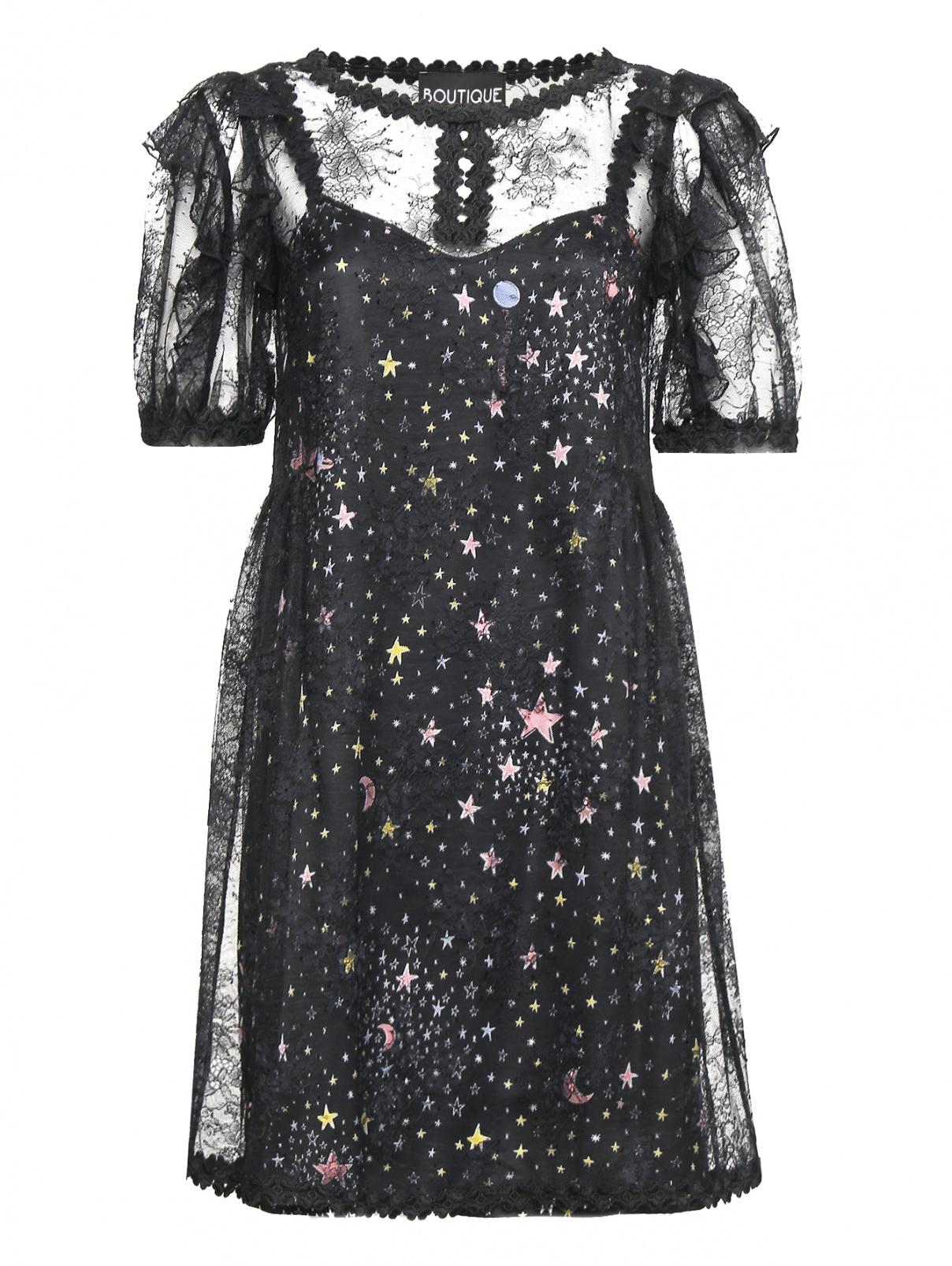 Платье из кружева с узором BOUTIQUE MOSCHINO  –  Общий вид  – Цвет:  Черный