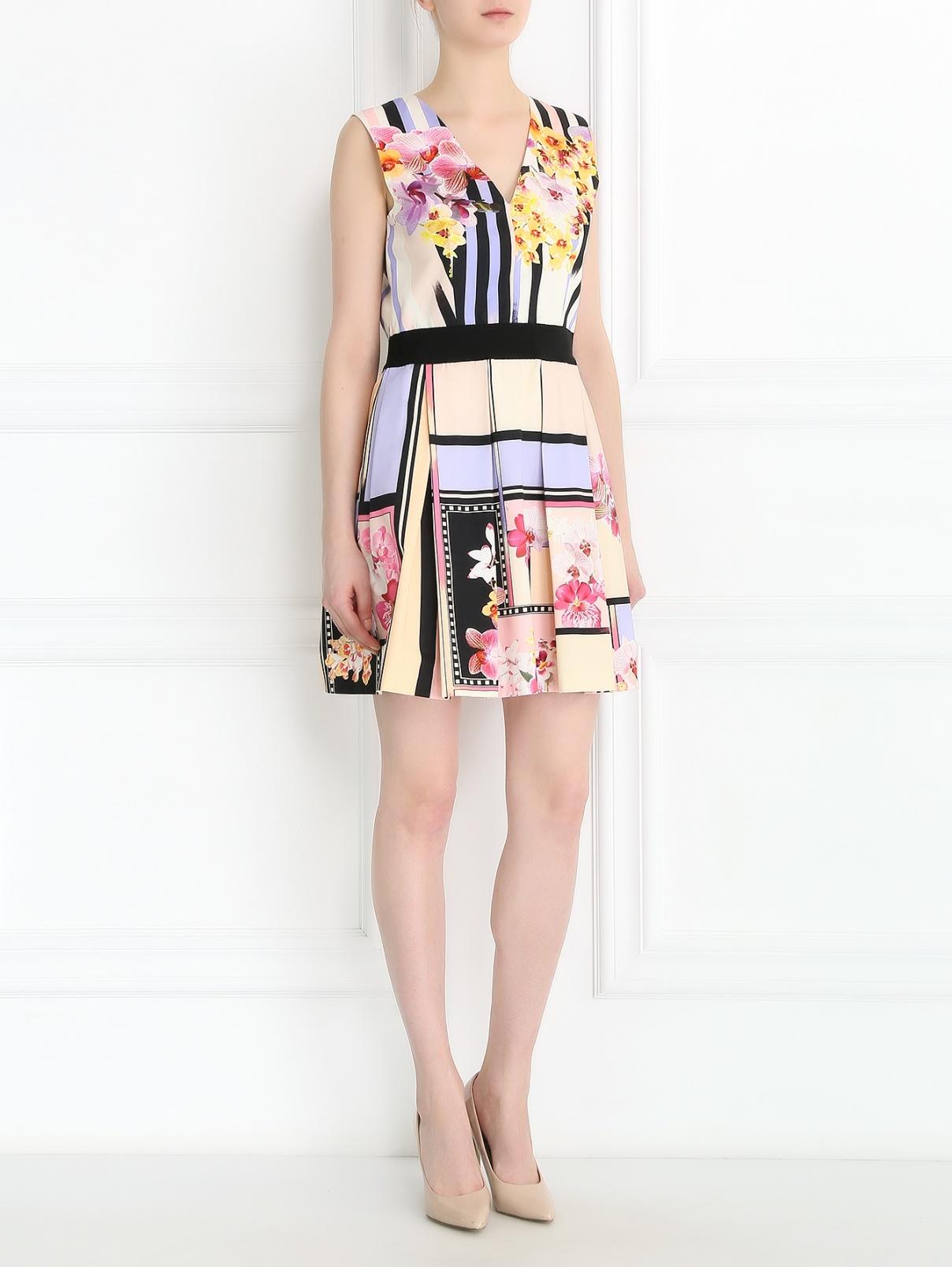 Платье-мини из хлопка с цветочным узором Alberta Ferretti  –  Модель Общий вид