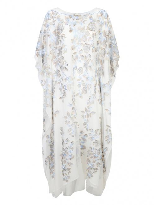 Платье свободного кроя из шелка с аппликацией - Общий вид