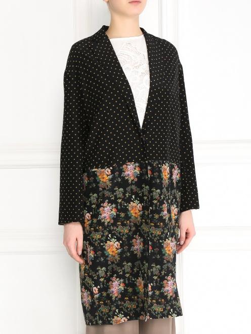 Легкое пальто из шелка с цветочным узором - Модель Верх-Низ