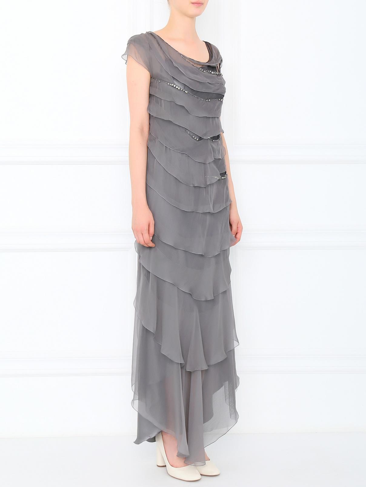 Платье-макси из шелка ассиметричное с камнями Alberta Ferretti  –  Модель Общий вид