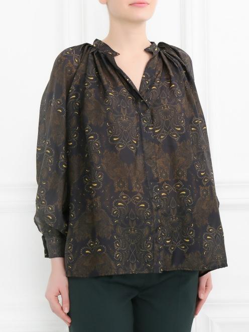 Блуза из шелка свободного кроя с узором - Модель Верх-Низ