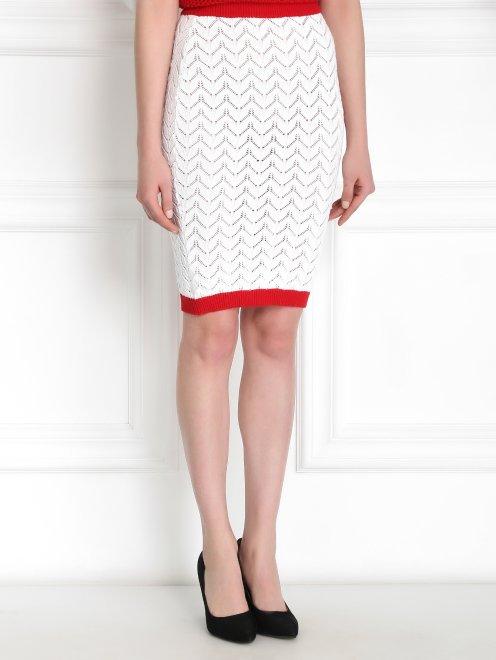 Трикотажная юбка-карандаш из хлопка - Модель Верх-Низ