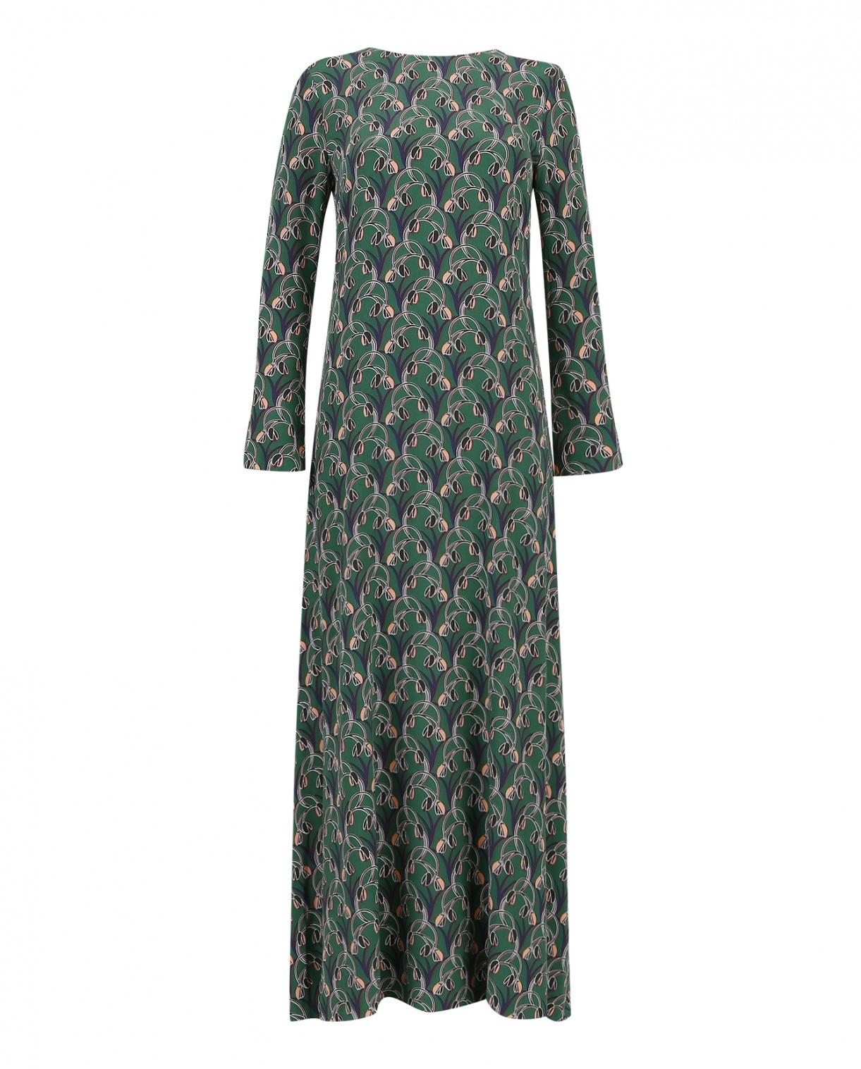 Платье макси прямого фасона с принтом Twenty Easy  –  Общий вид  – Цвет:  Зеленый