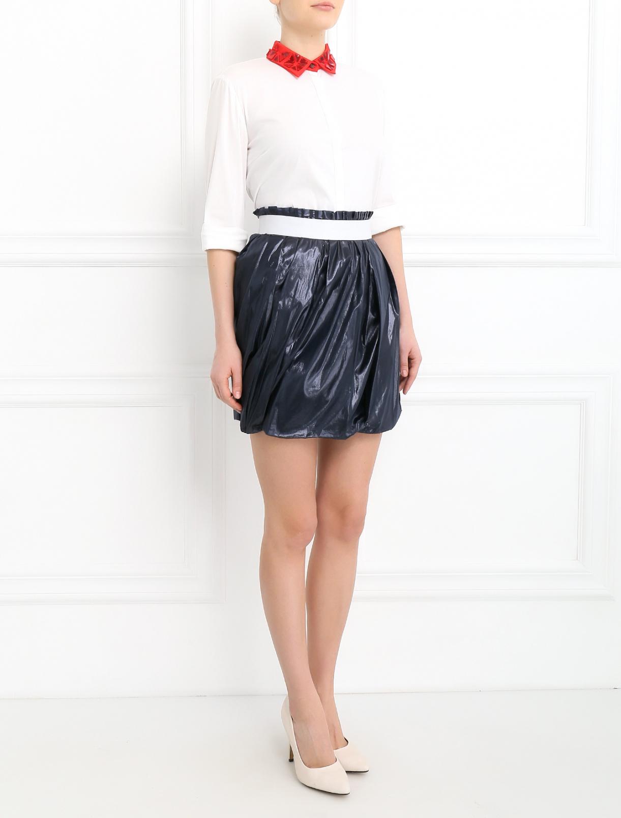 Юбка-мини с драпировкой Dolce & Gabbana  –  Модель Общий вид  – Цвет:  Синий