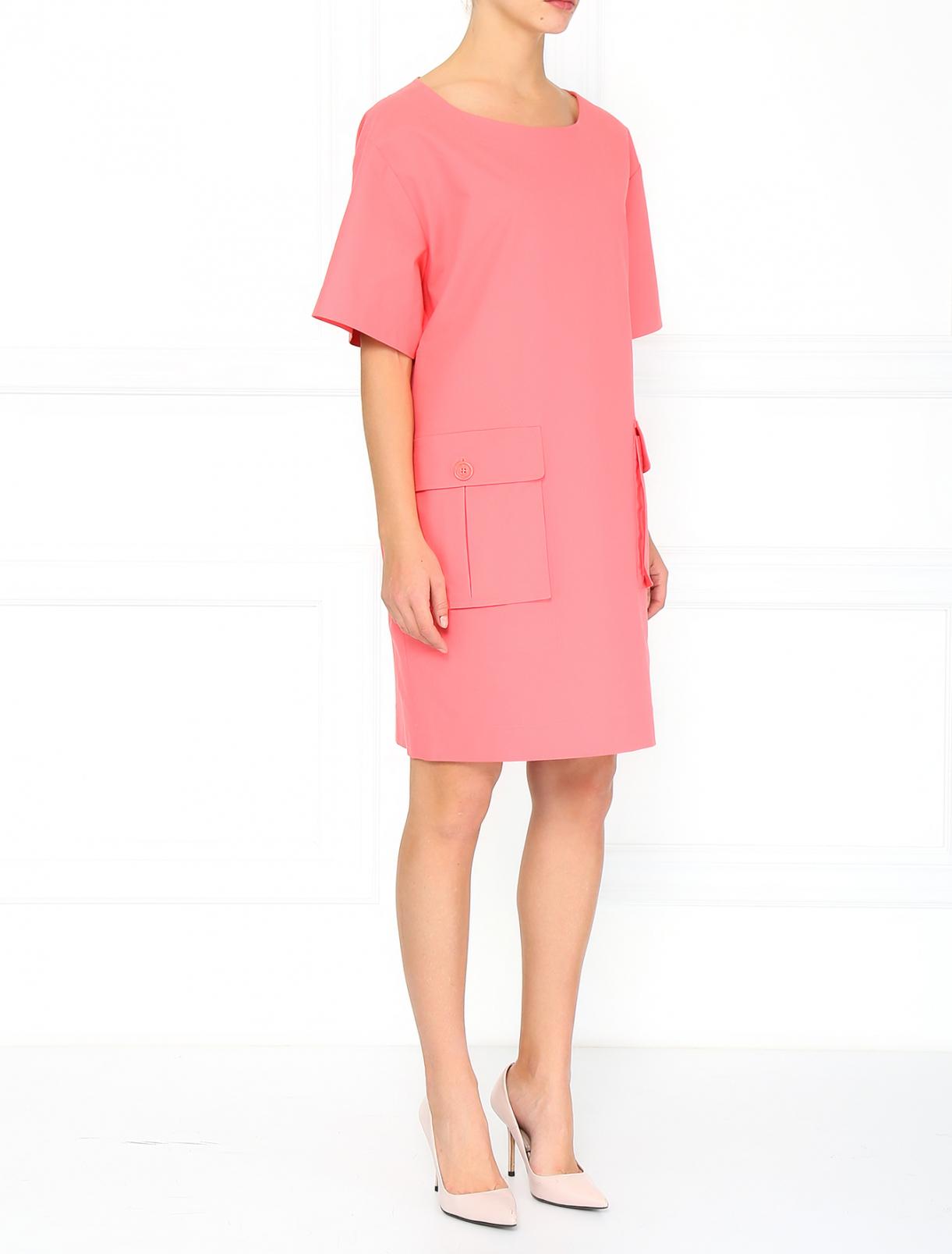 Хлопковое платье с накладными карманами Moschino  –  Модель Общий вид  – Цвет:  Красный