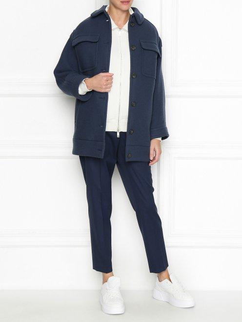 Пальто из шерсти с накладными карманами - Общий вид