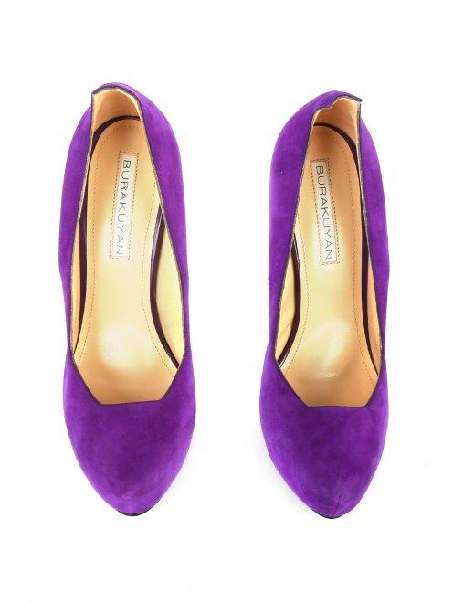 Туфли из замши на высоком каблуке и платформе - Обтравка3