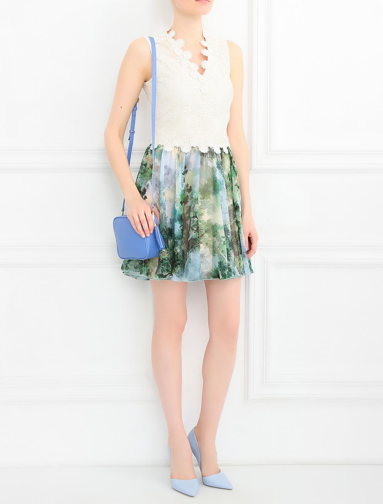 Платье-мини из шелка с вышивкой Pianoforte  –  Модель Общий вид