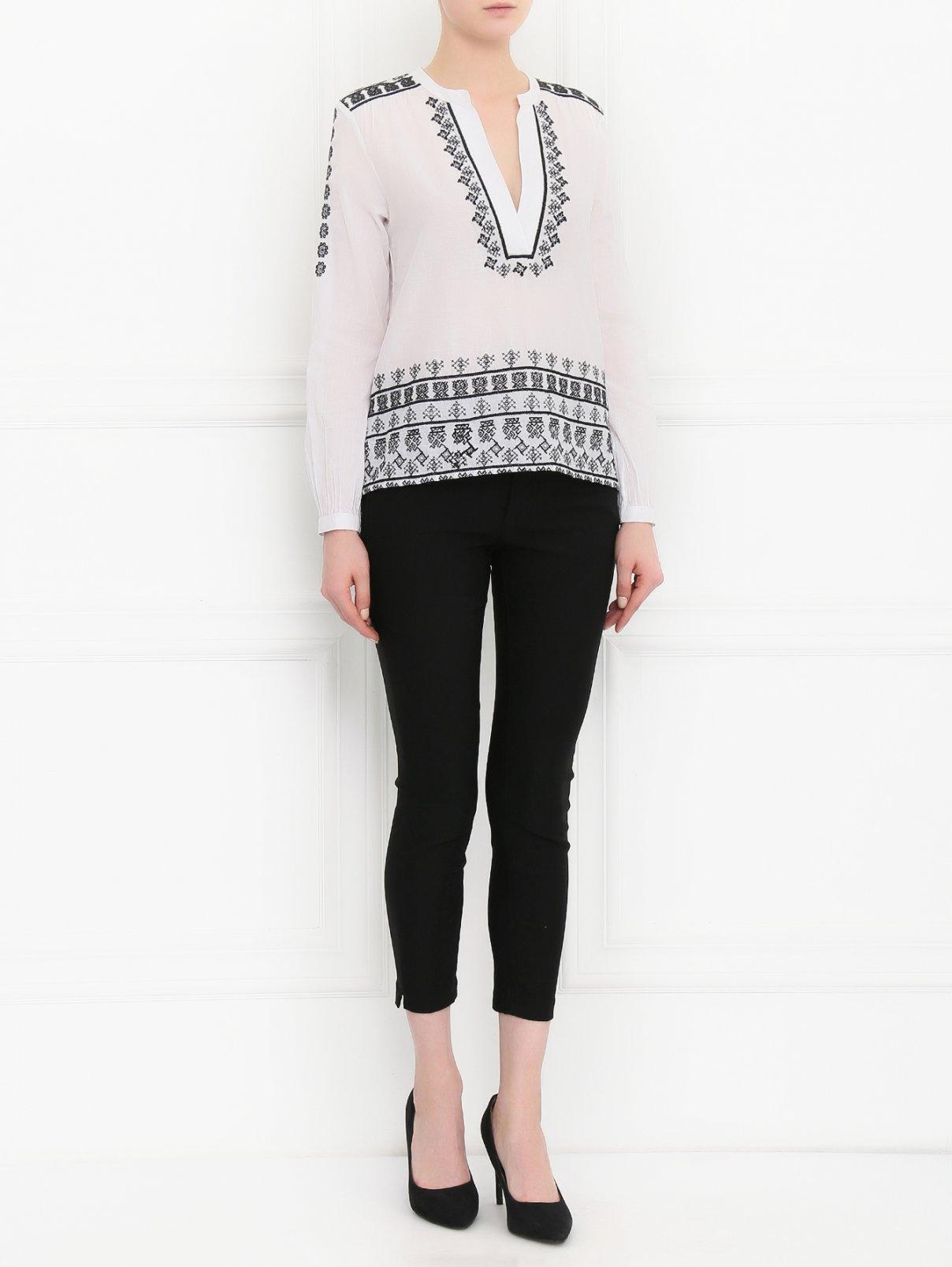 Рубашка из хлопка декорированная вышивкой Rich & Royal  –  Модель Общий вид  – Цвет:  Белый