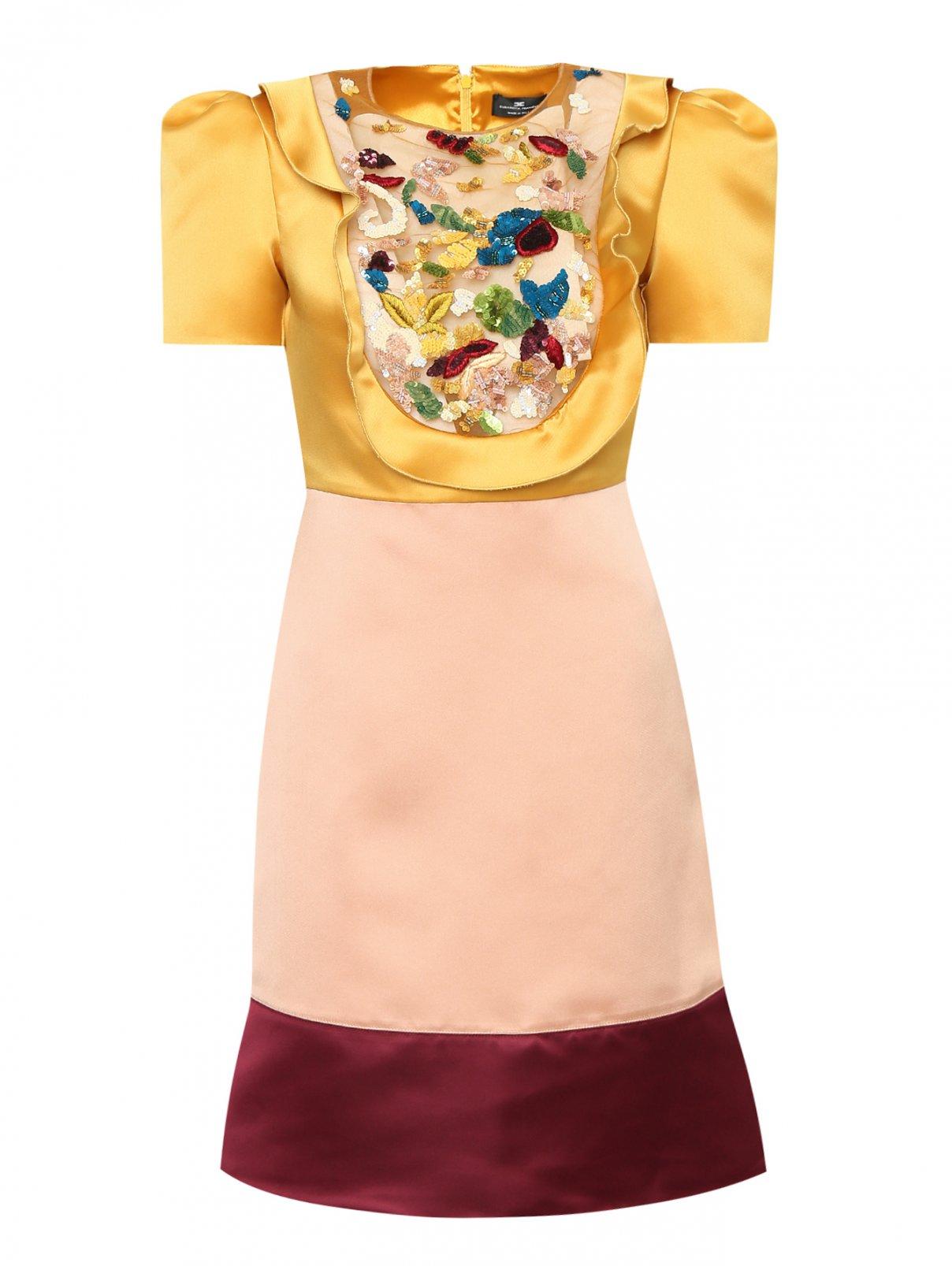Платье из атласа с отделкой пайетками Elisabetta Franchi  –  Общий вид